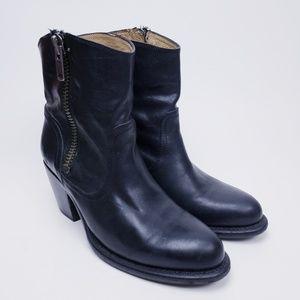 FRYE Women's LESLIE Black Side Zip Ankle Boots